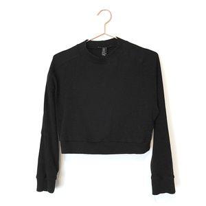 Waffle Knit Long Sleeve Crop Top - Black